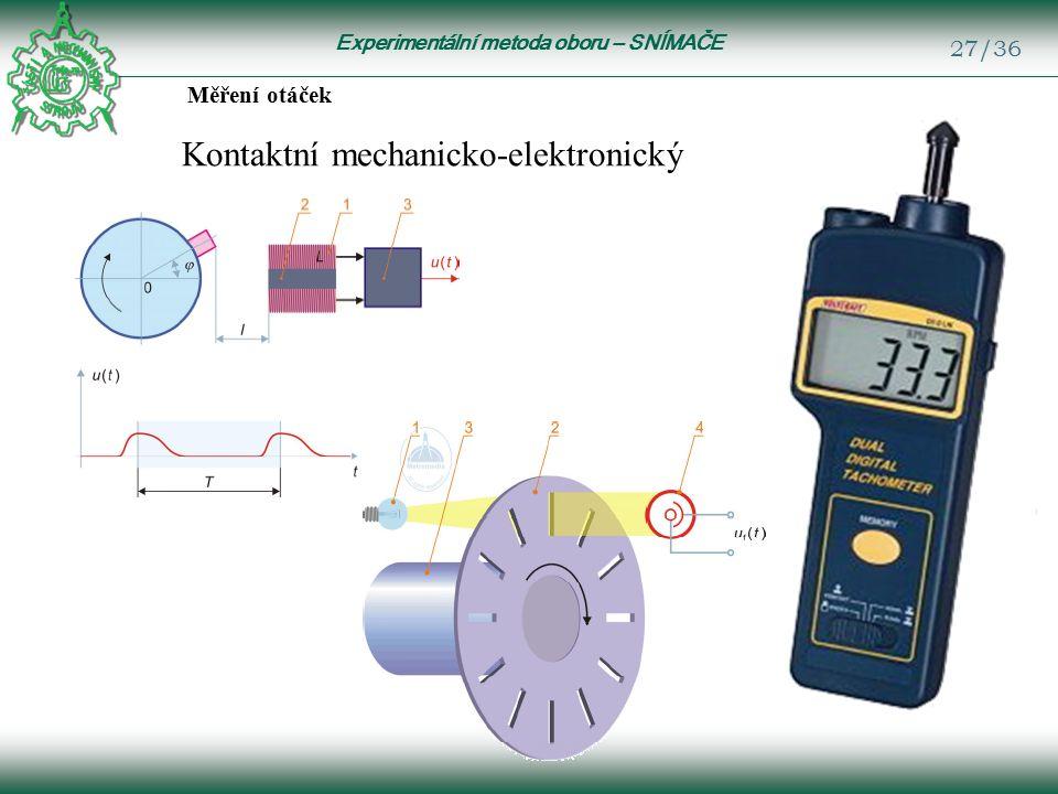 Experimentální metoda oboru – SNÍMAČE 27/36 Měření otáček Kontaktní mechanicko-elektronický