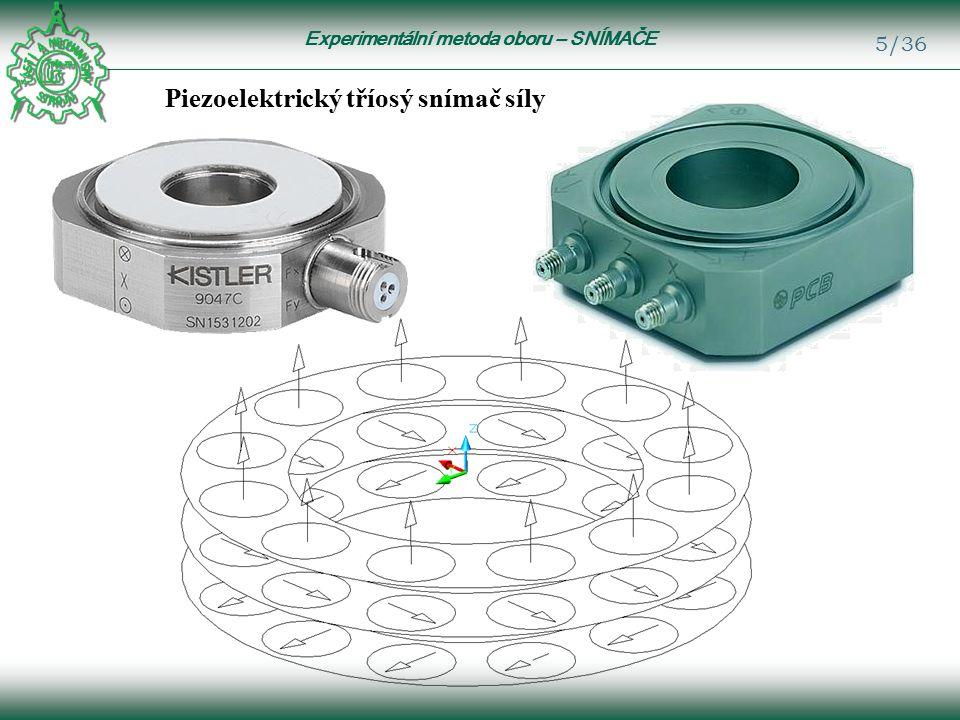 Experimentální metoda oboru – SNÍMAČE 5/36 Piezoelektrický tříosý snímač síly