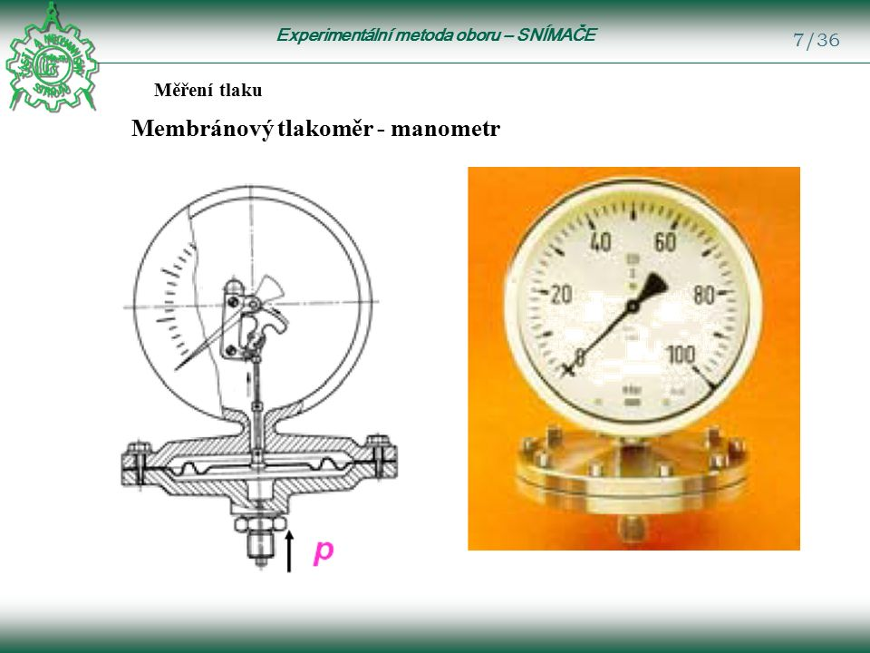 Experimentální metoda oboru – SNÍMAČE 7/36 Měření tlaku Membránový tlakoměr - manometr