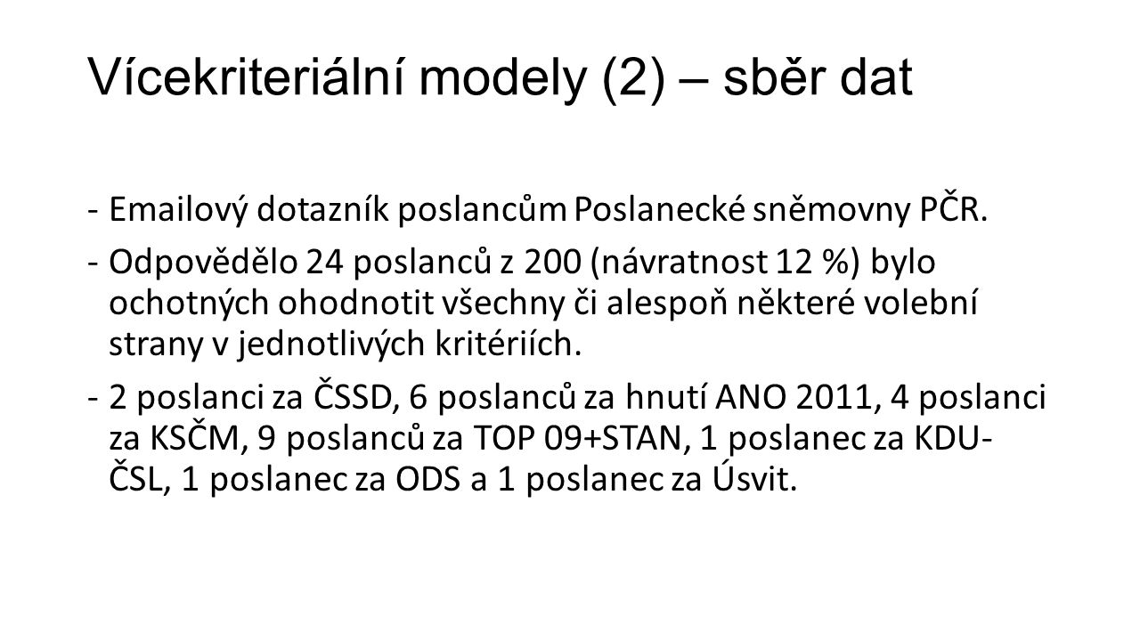 Vícekriteriální modely (2) – sběr dat -Emailový dotazník poslancům Poslanecké sněmovny PČR.