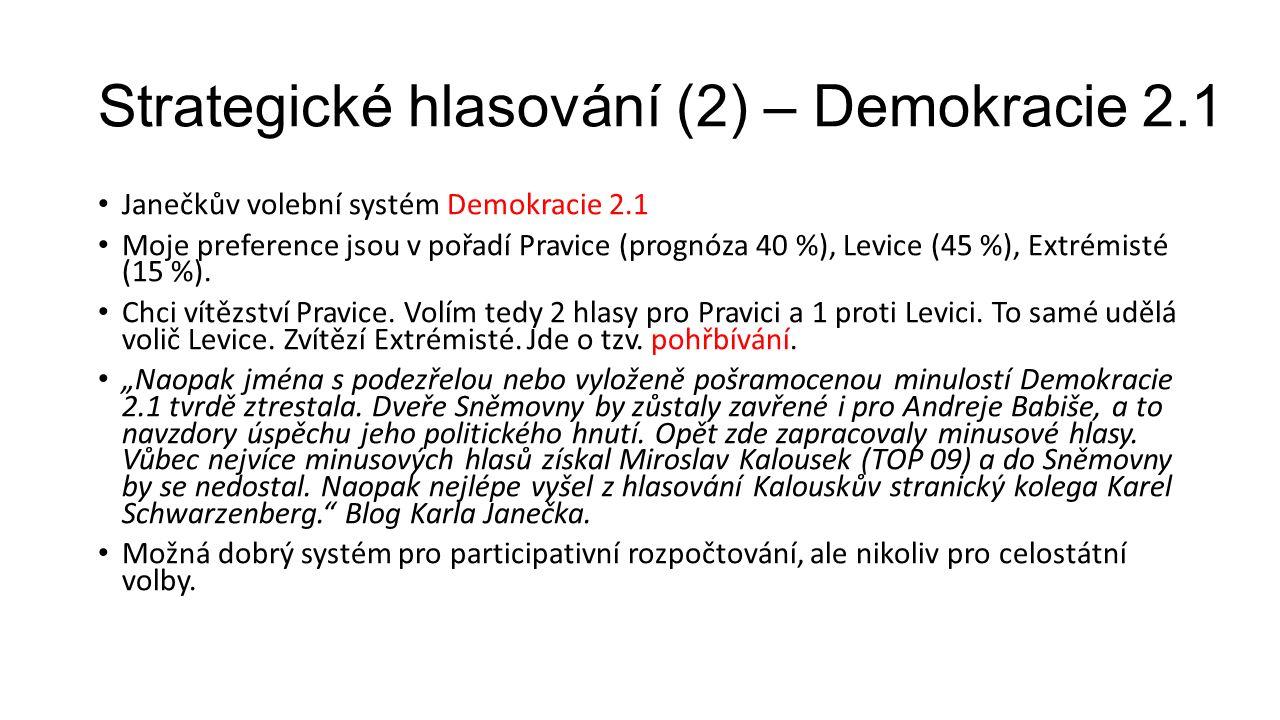 Strategické hlasování (2) – Demokracie 2.1 Janečkův volební systém Demokracie 2.1 Moje preference jsou v pořadí Pravice (prognóza 40 %), Levice (45 %), Extrémisté (15 %).