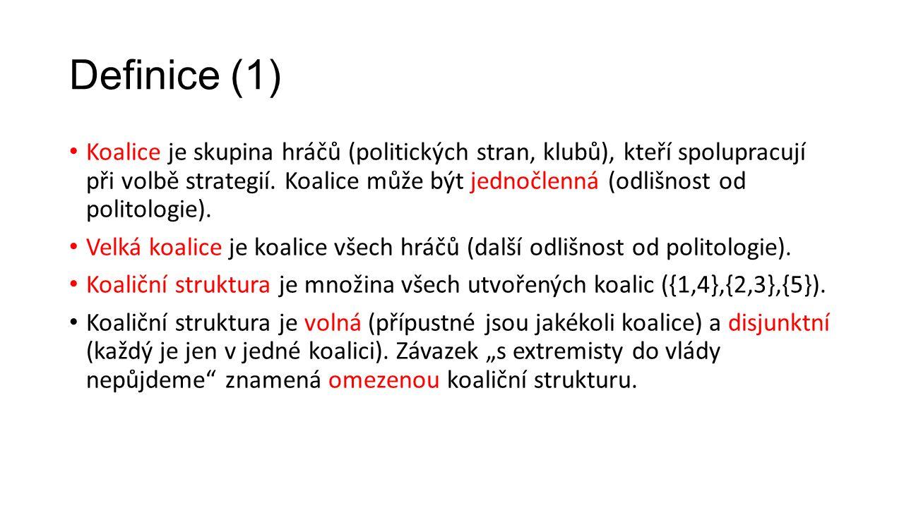 Měření síly hráčů (2) – ZHMP 2014 Volební strana Počet zastupitelů (%) Shapley-Shubikův ukazatel síly Banzhafův ukazatel síly ANO 2011 TOP 09 Trojkoalice (SZ, KDU-ČSL, STAN) ODS ČSSD KSČM Piráti 17 (26,2) 16 (24,6) 8 (12,3) 4 (6,2) 34,3 24,3 11,0 4,3 32,2 22,0 11,9 5,1 Celkem65 (100 %)100 %