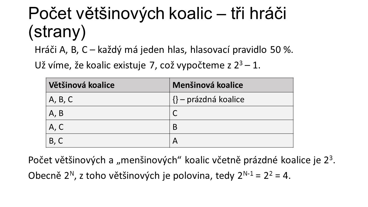 Počet většinových koalic – tři hráči (strany) Hráči A, B, C – každý má jeden hlas, hlasovací pravidlo 50 %.