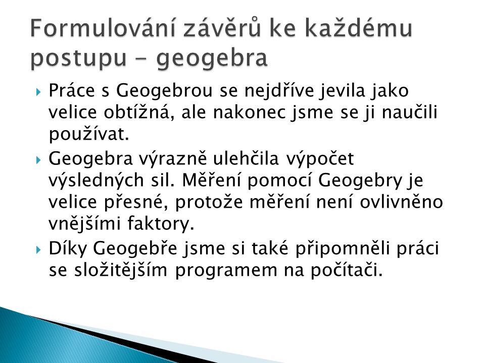  Práce s Geogebrou se nejdříve jevila jako velice obtížná, ale nakonec jsme se ji naučili používat.  Geogebra výrazně ulehčila výpočet výsledných si