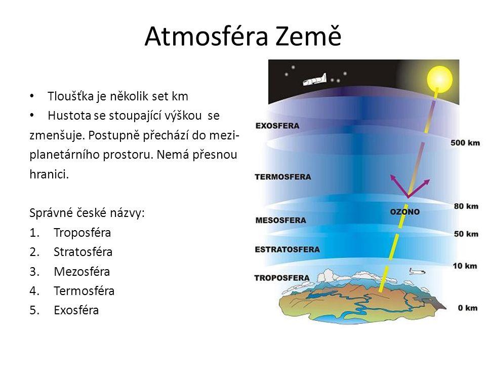 Atmosféra Země Tloušťka je několik set km Hustota se stoupající výškou se zmenšuje.