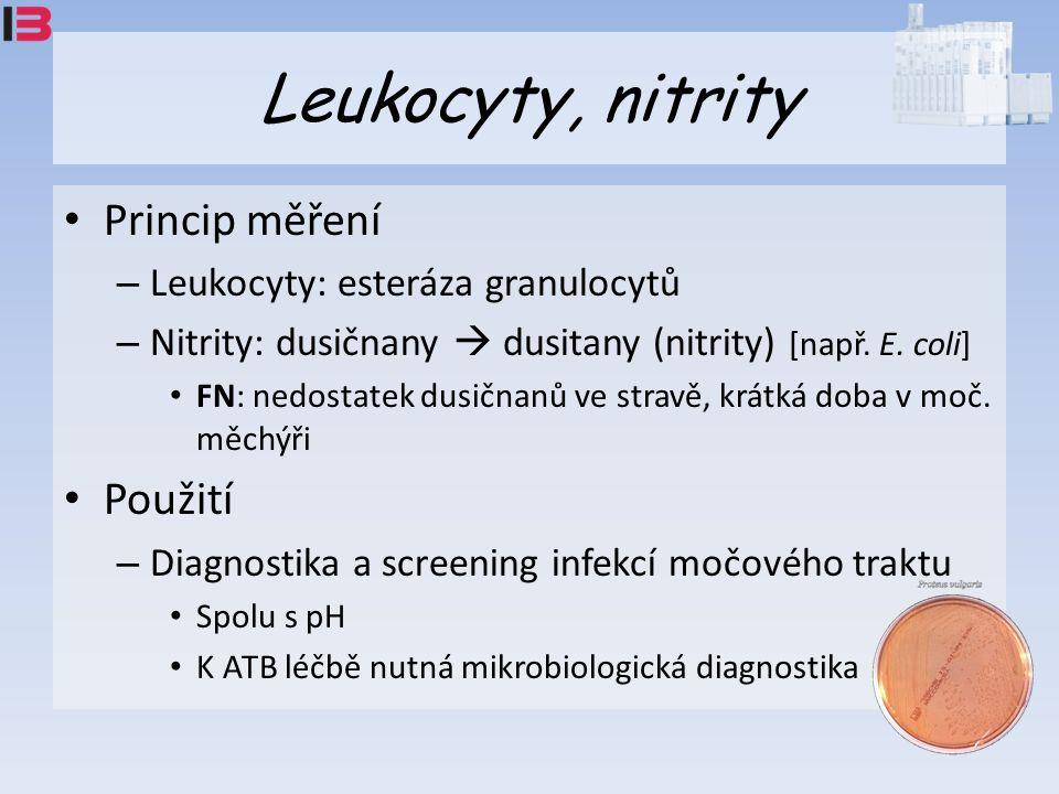 Leukocyty, nitrity Princip měření – Leukocyty: esteráza granulocytů – Nitrity: dusičnany  dusitany (nitrity) [např.