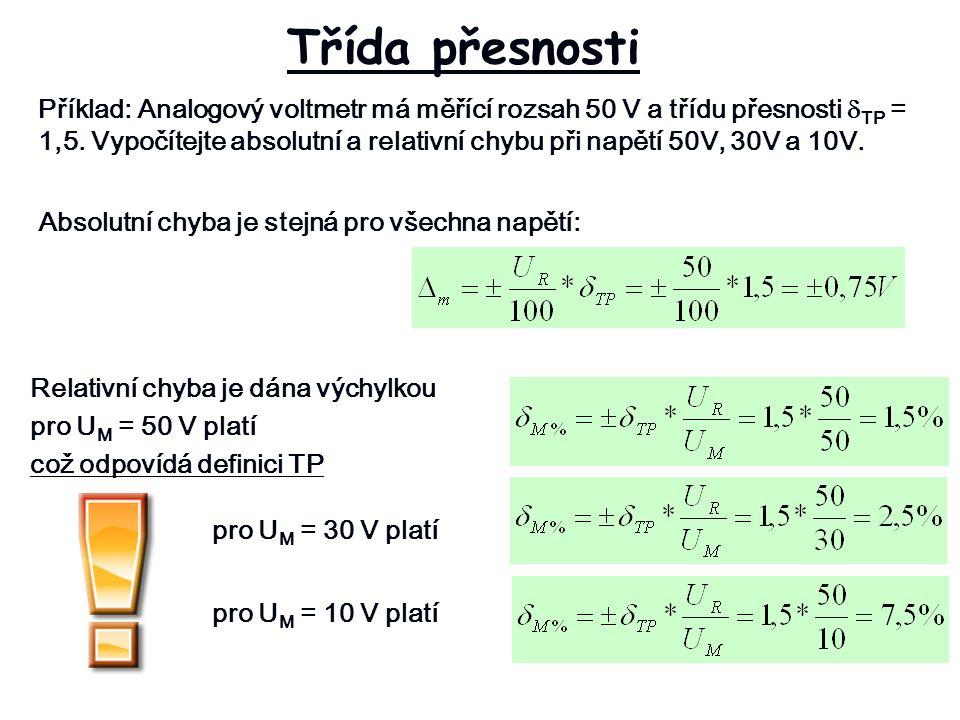 Třída přesnosti Příklad: Analogový voltmetr má měřící rozsah 50 V a třídu přesnosti  TP = 1,5.