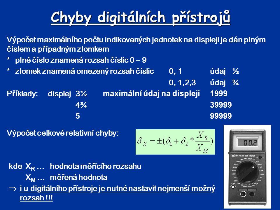 Chyby digitálních přístrojů Výpočet celkové relativní chyby: kdeX R …hodnota měřícího rozsahu X M …měřená hodnota  i u digitálního přístroje je nutné nastavit nejmenší možný rozsah !!.