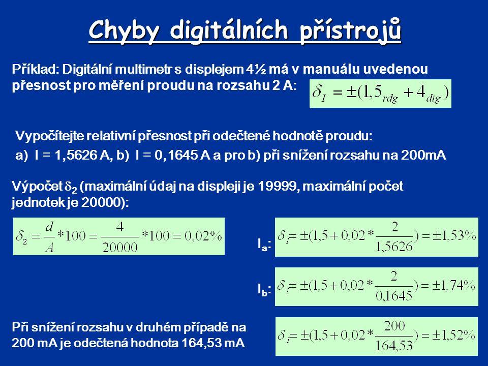 Chyby digitálních přístrojů Výpočet  2 (maximální údaj na displeji je 19999, maximální počet jednotek je 20000): Ia:Ia: Příklad: Digitální multimetr s displejem 4½ má v manuálu uvedenou přesnost pro měření proudu na rozsahu 2 A : Vypočítejte relativní přesnost při odečtené hodnotě proudu: a)I = 1,5626 A, b) I = 0,1645 A a pro b) při snížení rozsahu na 200mA Ib:Ib: Při snížení rozsahu v druhém případě na 200 mA je odečtená hodnota 164,53 mA