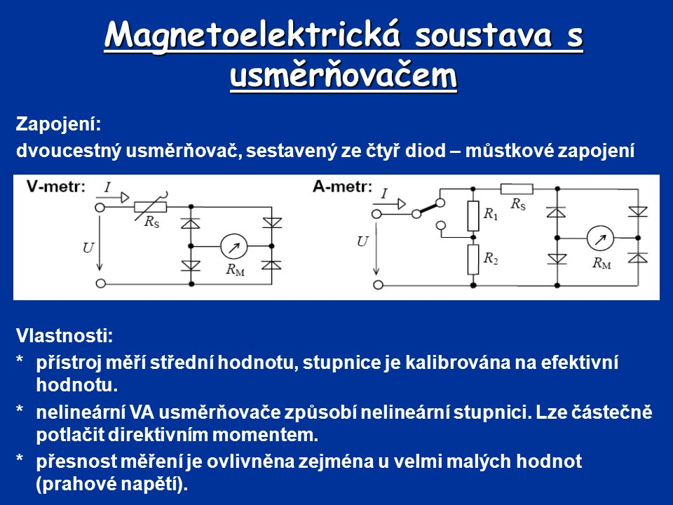 Magnetoelektrická soustava s usměrňovačem Zapojení: dvoucestný usměrňovač, sestavený ze čtyř diod – můstkové zapojení Vlastnosti: *přístroj měří střední hodnotu, stupnice je kalibrována na efektivní hodnotu.