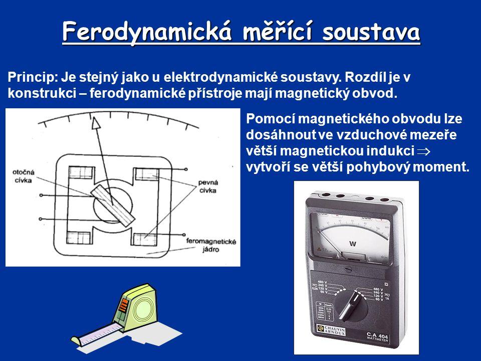 Ferodynamická měřící soustava Princip: Je stejný jako u elektrodynamické soustavy.