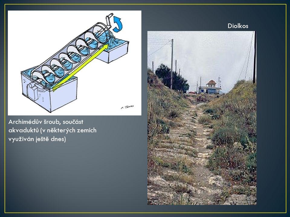 Archimédův šroub, součást akvaduktů (v některých zemích využíván ještě dnes) Diolkos