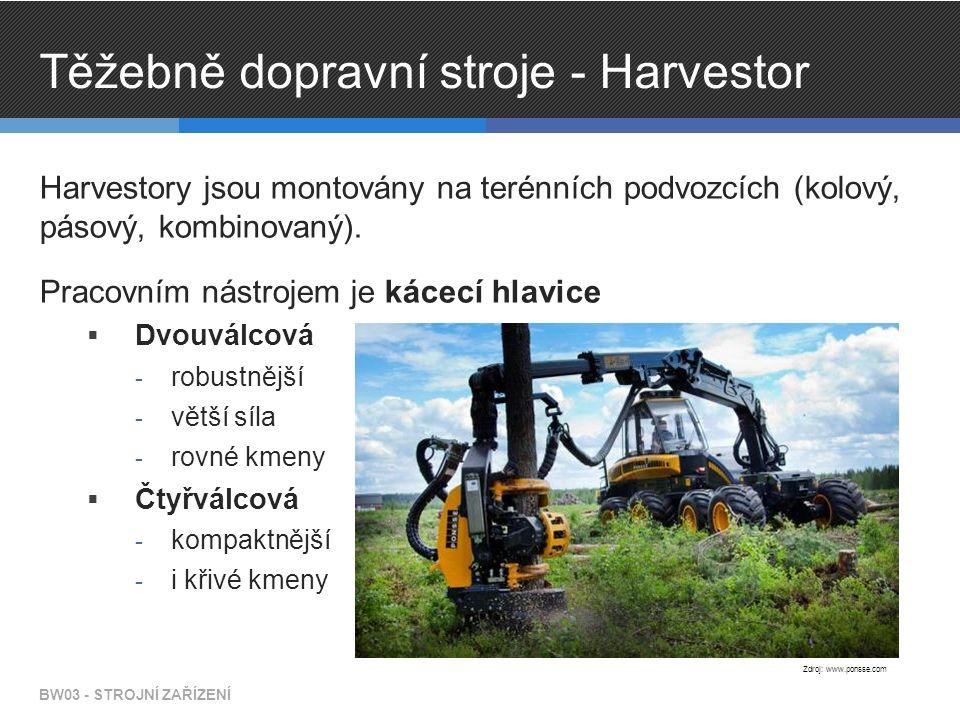 Těžebně dopravní stroje - Harvestor Harvestory jsou montovány na terénních podvozcích (kolový, pásový, kombinovaný). Pracovním nástrojem je kácecí hla