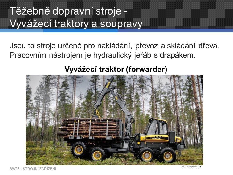 Těžebně dopravní stroje - Vyvážecí traktory a soupravy Jsou to stroje určené pro nakládání, převoz a skládání dřeva. Pracovním nástrojem je hydraulick