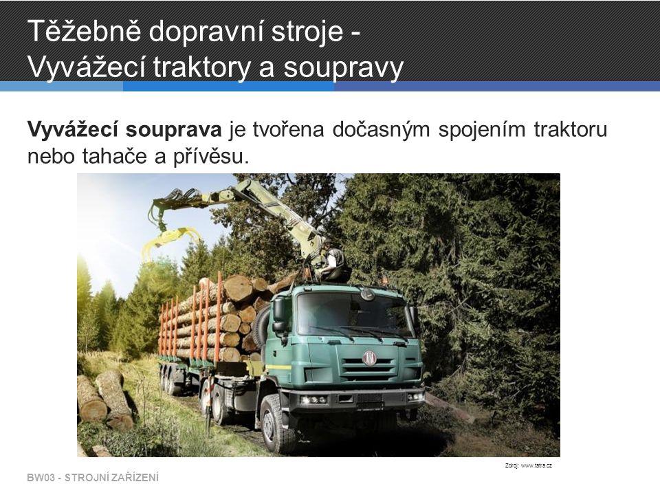 Těžebně dopravní stroje - Vyvážecí traktory a soupravy Vyvážecí souprava je tvořena dočasným spojením traktoru nebo tahače a přívěsu.