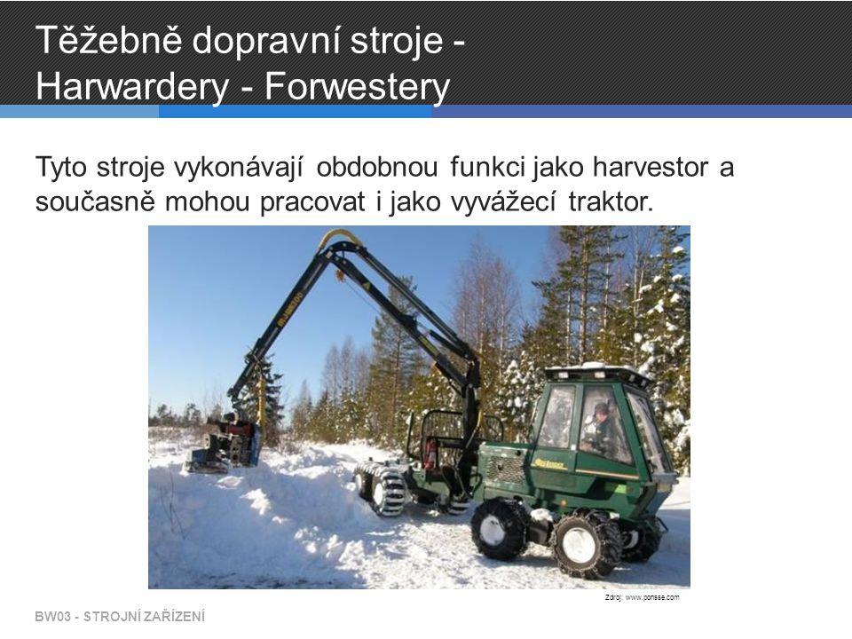 Těžebně dopravní stroje - Harwardery - Forwestery Tyto stroje vykonávají obdobnou funkci jako harvestor a současně mohou pracovat i jako vyvážecí trak