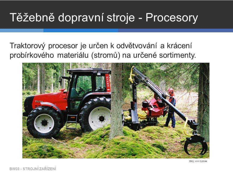 Těžebně dopravní stroje - Procesory Traktorový procesor je určen k odvětvování a krácení probírkového materiálu (stromů) na určené sortimenty. BW03 -
