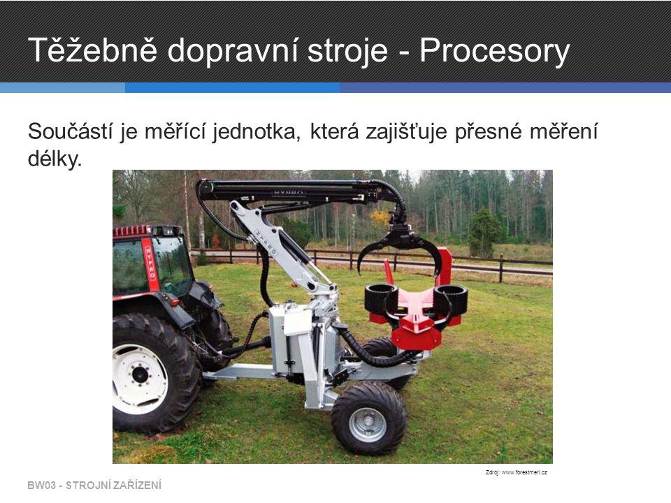 Těžebně dopravní stroje - Procesory Součástí je měřící jednotka, která zajišťuje přesné měření délky. BW03 - STROJNÍ ZAŘÍZENÍ Zdroj: www.forestmeri.cz