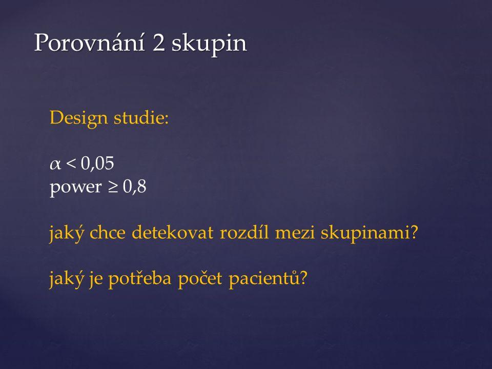 Porovnání 2 skupin Design studie: α < 0,05 power ≥ 0,8 jaký chce detekovat rozdíl mezi skupinami.