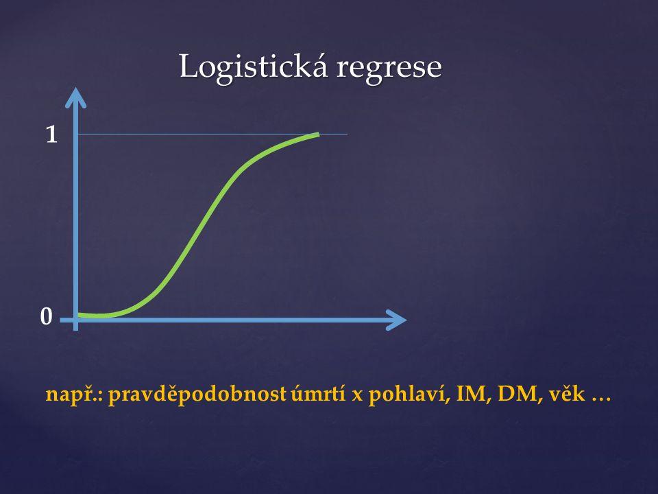 Logistická regrese 1 0 např.: pravděpodobnost úmrtí x pohlaví, IM, DM, věk …