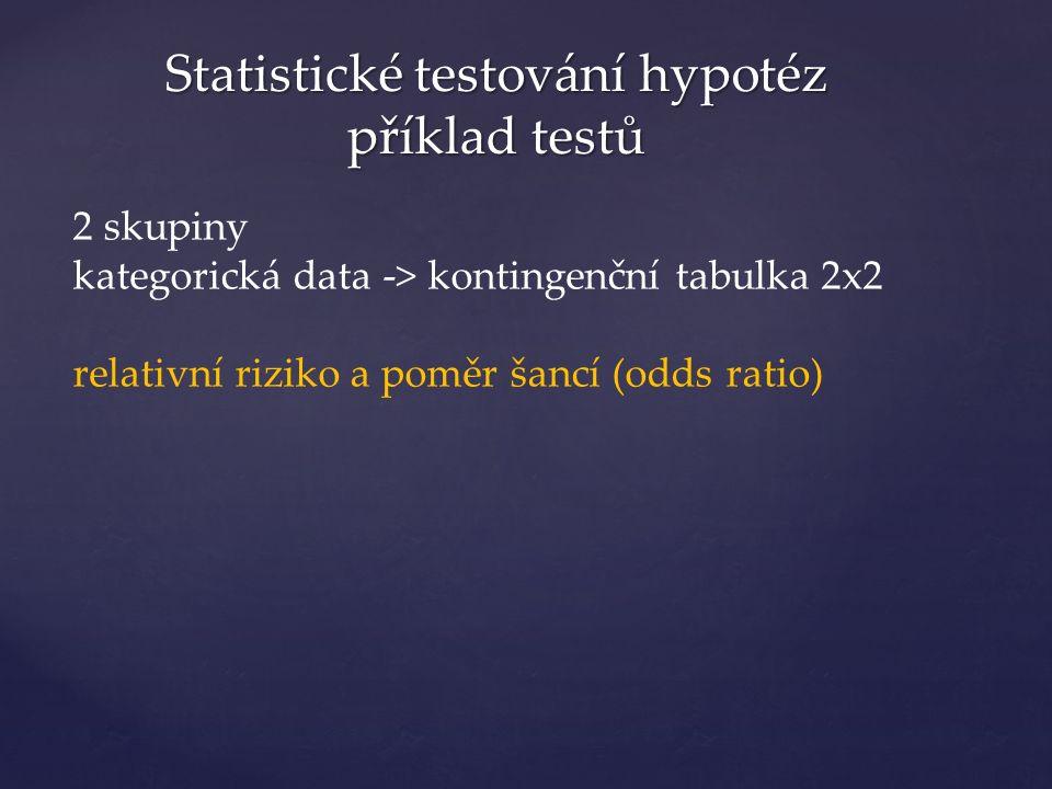 Statistické testování hypotéz příklad testů 2 skupiny kategorická data -> kontingenční tabulka 2x2 relativní riziko a poměr šancí (odds ratio)