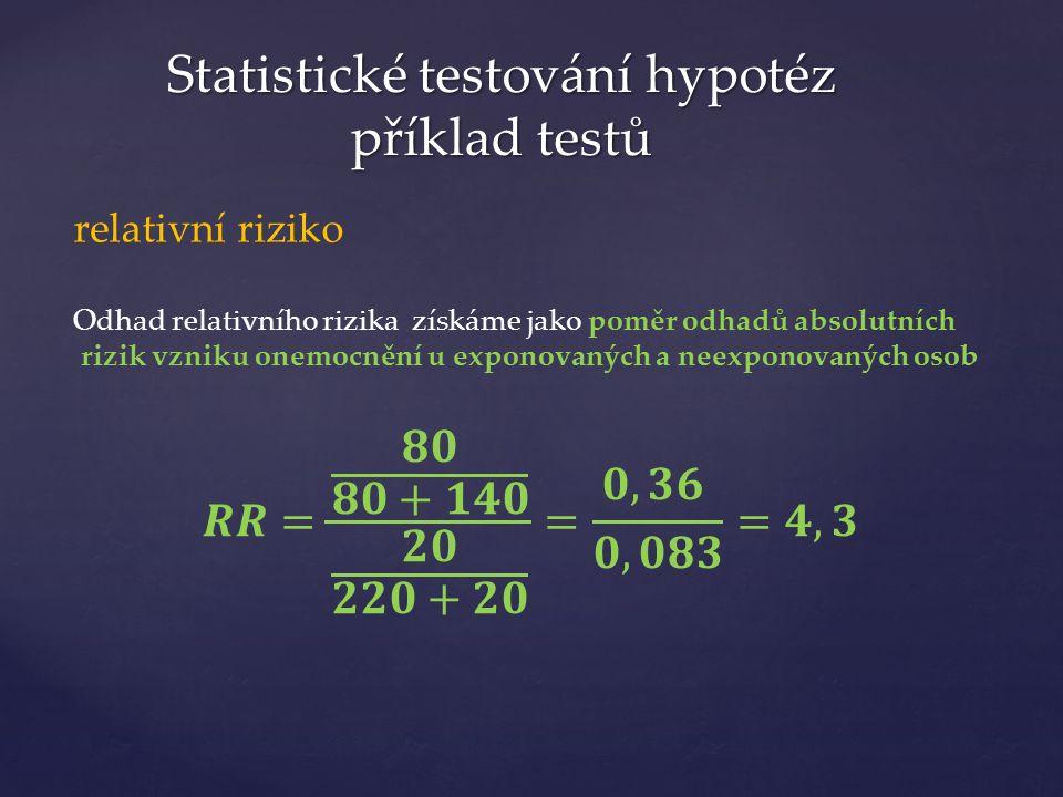 Statistické testování hypotéz příklad testů relativní riziko Odhad relativního rizika získáme jako poměr odhadů absolutních rizik vzniku onemocnění u exponovaných a neexponovaných osob