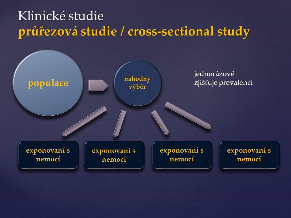 Klinické studie průřezová studie / cross-sectional study populace náhodný výběr exponovaní s nemocí jednorázově zjišťuje prevalenci