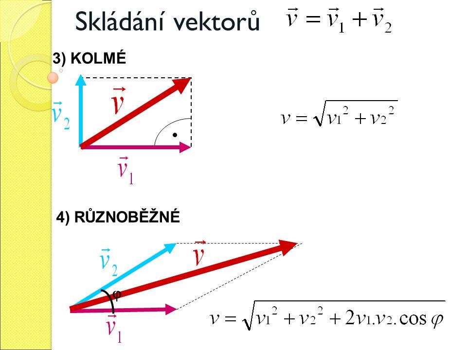 Skládání vektorů 3) KOLMÉ 4) RŮZNOBĚŽNÉ 