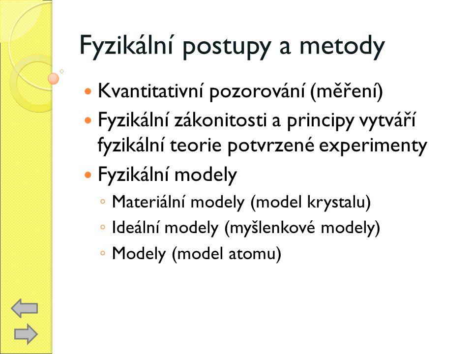 Fyzikální postupy a metody Kvantitativní pozorování (měření) Fyzikální zákonitosti a principy vytváří fyzikální teorie potvrzené experimenty Fyzikální modely ◦ Materiální modely (model krystalu) ◦ Ideální modely (myšlenkové modely) ◦ Modely (model atomu)
