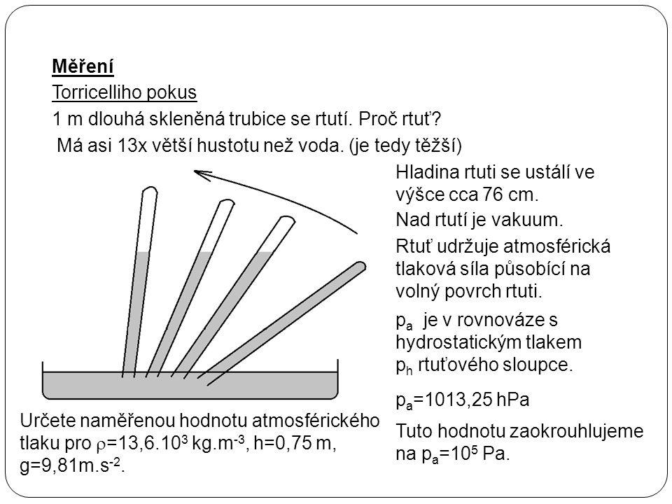 Měření Torricelliho pokus 1 m dlouhá skleněná trubice se rtutí.Proč rtuť? Má asi 13x větší hustotu než voda. (je tedy těžší) Hladina rtuti se ustálí v
