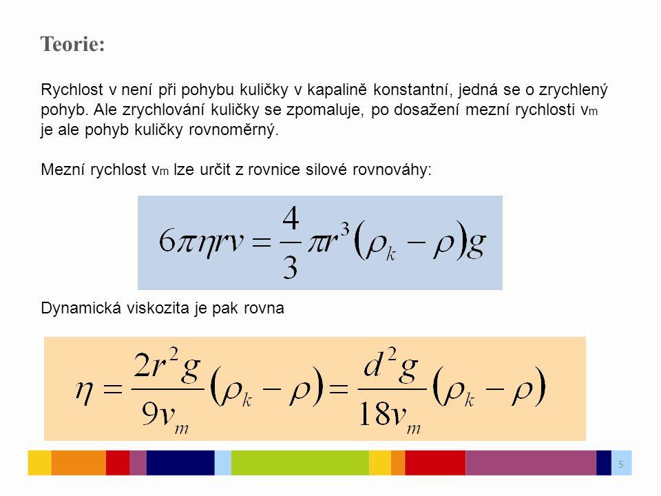 Teorie: Rychlost v není při pohybu kuličky v kapalině konstantní, jedná se o zrychlený pohyb.