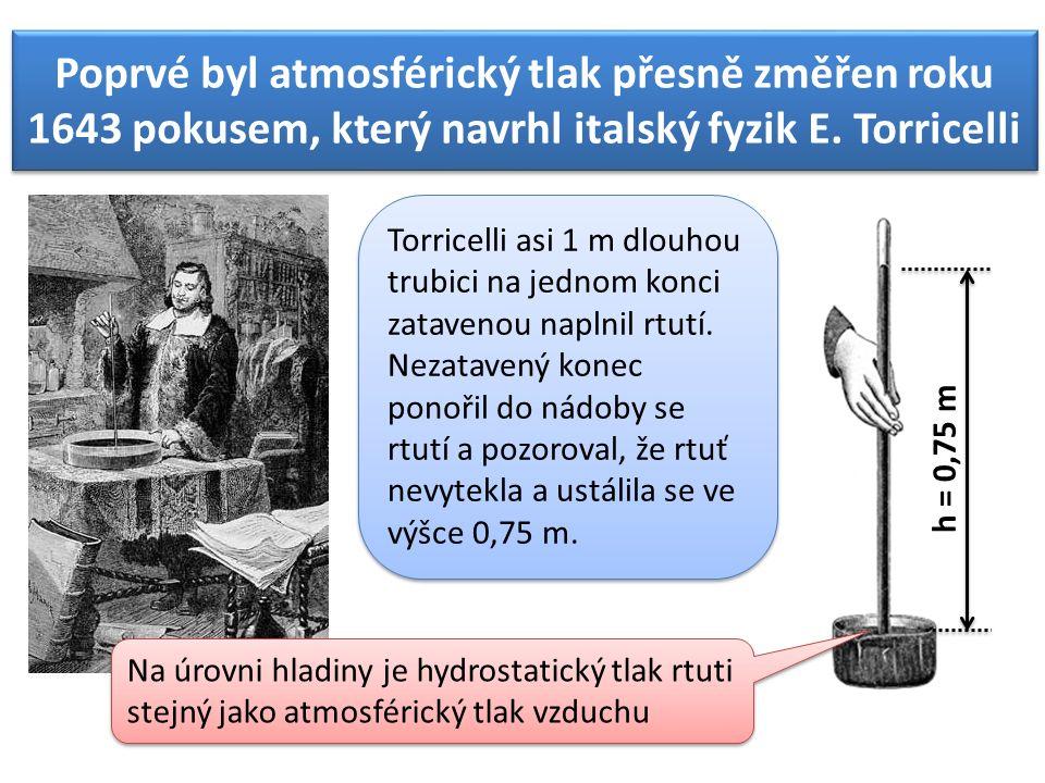 Poprvé byl atmosférický tlak přesně změřen roku 1643 pokusem, který navrhl italský fyzik E.