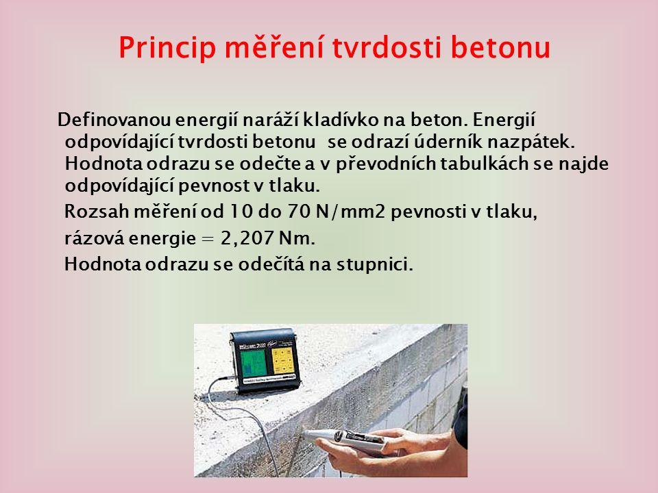 Princip měření tvrdosti betonu Definovanou energií naráží kladívko na beton.