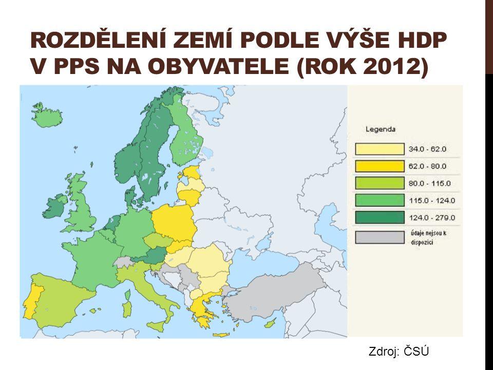 ROZDĚLENÍ ZEMÍ PODLE VÝŠE HDP V PPS NA OBYVATELE (ROK 2012) Zdroj: ČSÚ