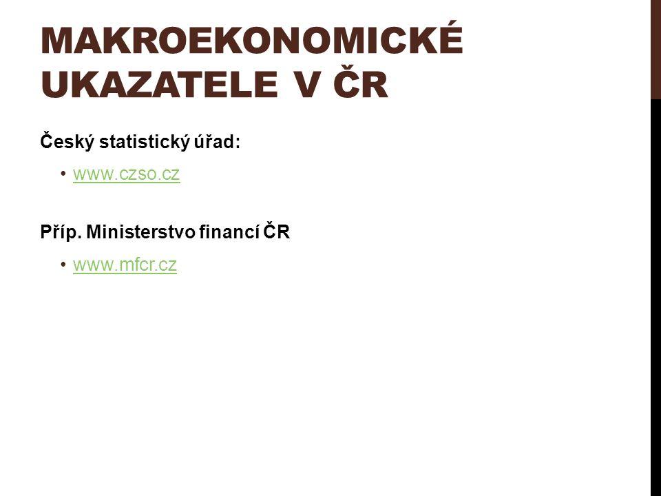 MAKROEKONOMICKÉ UKAZATELE V ČR Český statistický úřad: www.czso.cz Příp. Ministerstvo financí ČR www.mfcr.cz