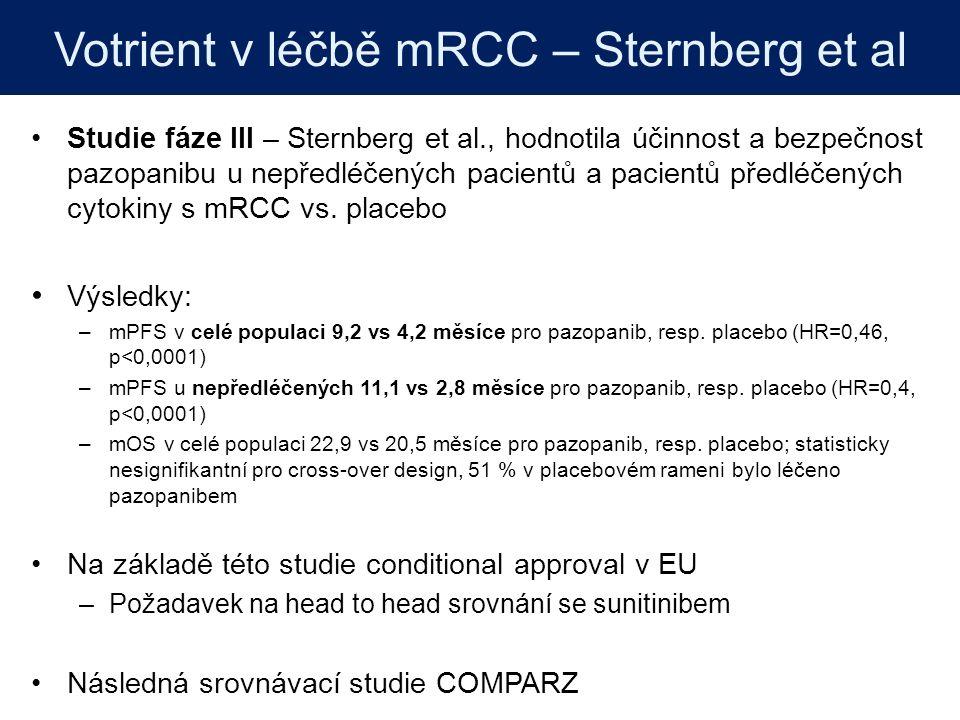 Výsledky: SPAZO: účinnost a bezpečnost léčby pazopanibem ve španělských onkologických centrech mPFS, měsíce mOS, měsíce 2leté přežití, % Celková populace112248,1 Rozděleno podle IMDC prognostického modelu Nízké riziko (19,4 %)32NR81,6 Střední riziko (57,2 %)112248,7 Vysoké riziko (23,4 %)4718,8 NR – nedosaženo Bezpečnost a snášenlivost odpovídala datům z registrační studie Významný podíl pacientů s vysoce rizikovým typem onemocnění ve srovnání s klinickými studiemi: Sternberg et al (3 %) COMPARZ (12 %)