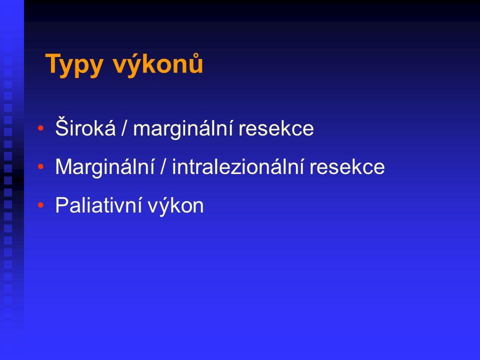 Široká / marginální resekce Marginální / intralezionální resekce Paliativní výkon Typy výkonů