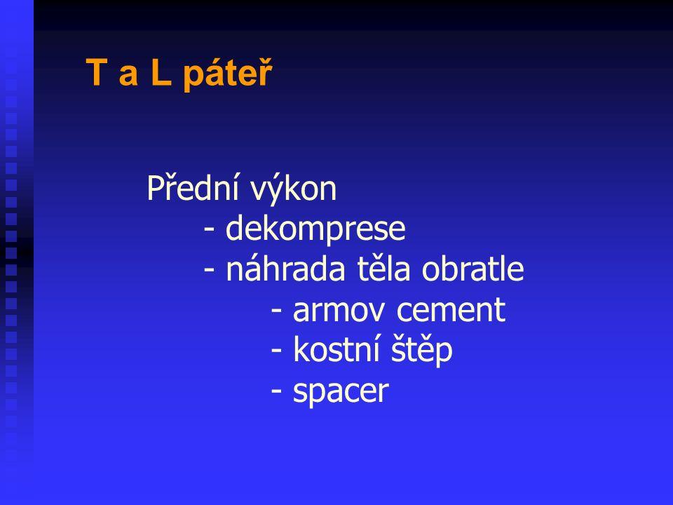Přední výkon - dekomprese - náhrada těla obratle - armov cement - kostní štěp - spacer