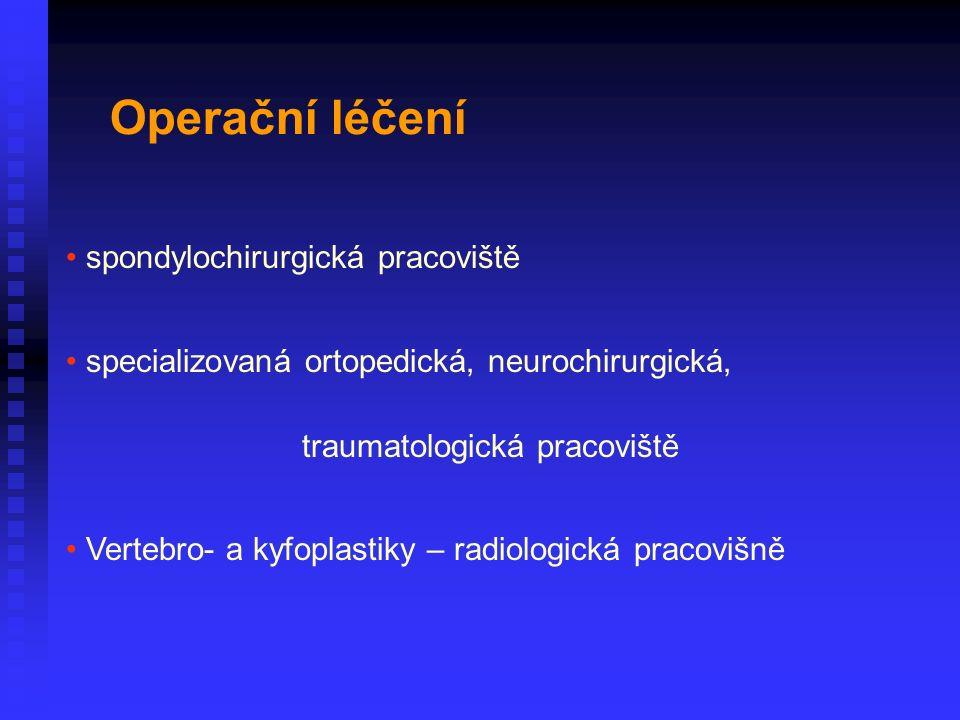 spondylochirurgická pracoviště specializovaná ortopedická, neurochirurgická, traumatologická pracoviště Vertebro- a kyfoplastiky – radiologická pracovišně Operační léčení
