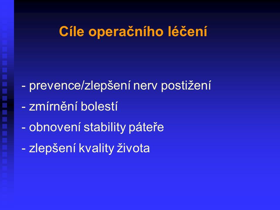 - prevence/zlepšení nerv postižení - zmírnění bolestí - obnovení stability páteře - zlepšení kvality života Cíle operačního léčení