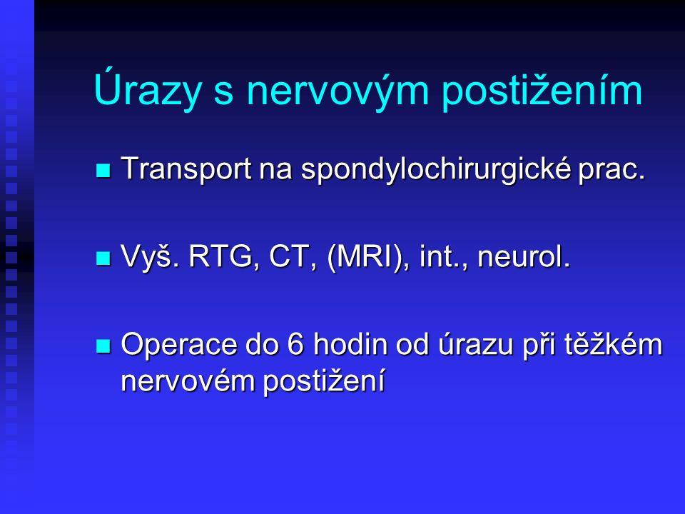Úrazy s nervovým postižením Transport na spondylochirurgické prac. Transport na spondylochirurgické prac. Vyš. RTG, CT, (MRI), int., neurol. Vyš. RTG,