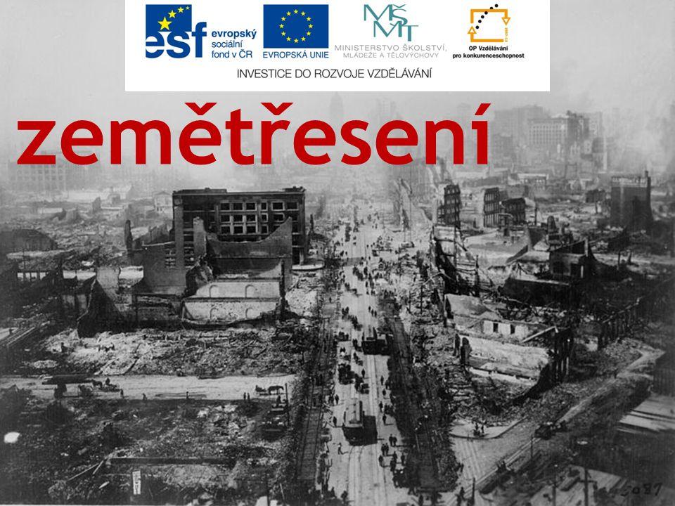obsah zemětřesení ▫druhy zemětřesení ▫seismologie ▫Richterova stupnice ▫zemětřesení v ČR tsunami kontrolní otázky