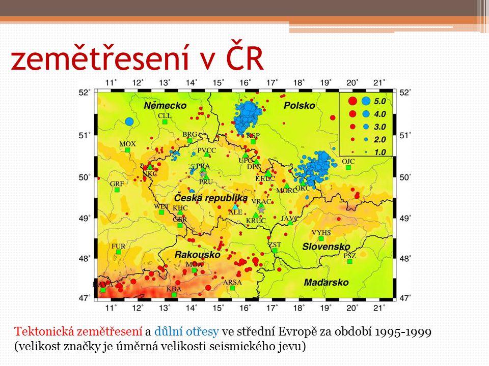 zemětřesení v ČR Tektonická zemětřesení a důlní otřesy ve střední Evropě za období 1995-1999 (velikost značky je úměrná velikosti seismického jevu)
