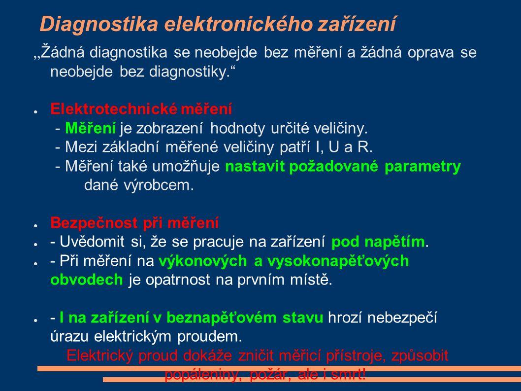 """Diagnostika elektronického zařízení """"Žádná diagnostika se neobejde bez měření a žádná oprava se neobejde bez diagnostiky. ● Elektrotechnické měření - Měření je zobrazení hodnoty určité veličiny."""