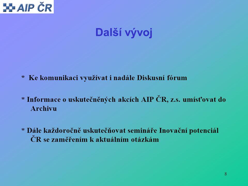 8 Další vývoj * Ke komunikaci využívat i nadále Diskusní fórum * Informace o uskutečněných akcích AIP ČR, z.s.