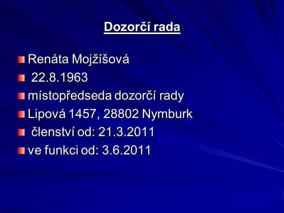 Dozorčí rada Renáta Mojžíšová 22.8.1963 22.8.1963 místopředseda dozorčí rady Lipová 1457, 28802 Nymburk členství od: 21.3.2011 členství od: 21.3.2011