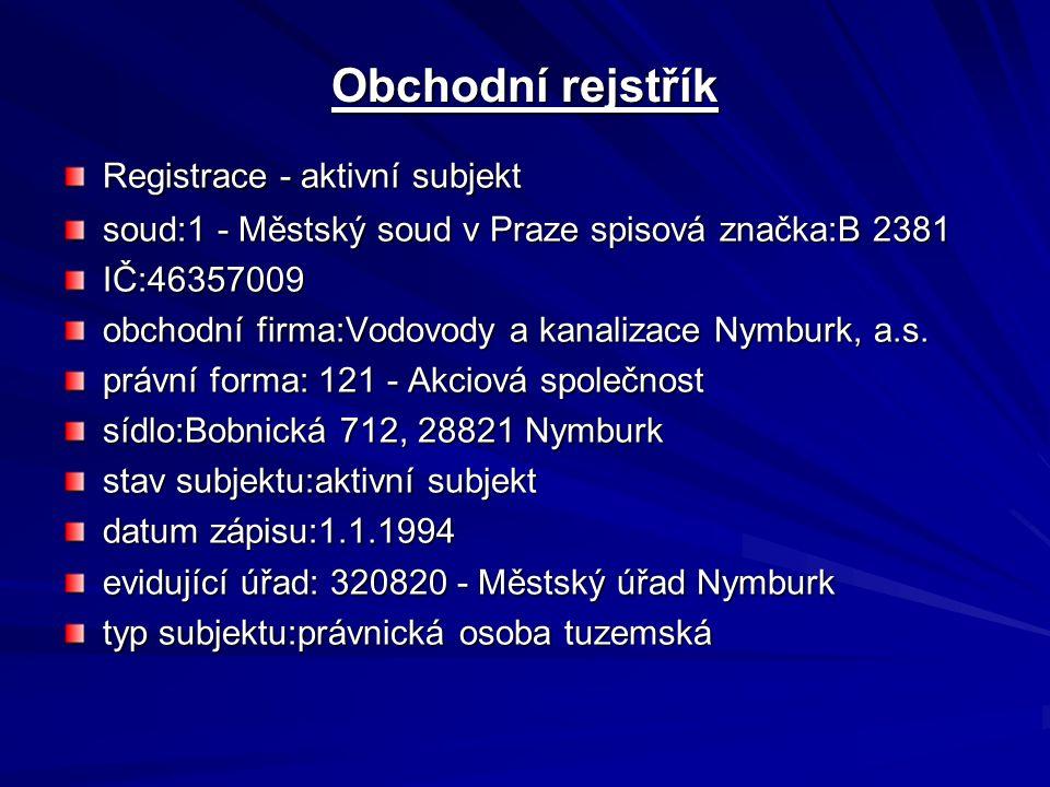 Obchodní rejstřík Registrace - aktivní subjekt soud:1 - Městský soud v Praze spisová značka:B 2381 IČ:46357009 obchodní firma:Vodovody a kanalizace Nymburk, a.s.