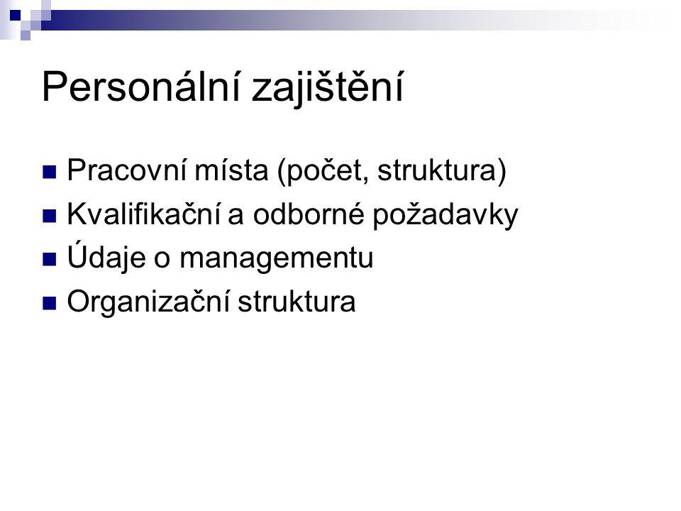 Personální zajištění Pracovní místa (počet, struktura) Kvalifikační a odborné požadavky Údaje o managementu Organizační struktura