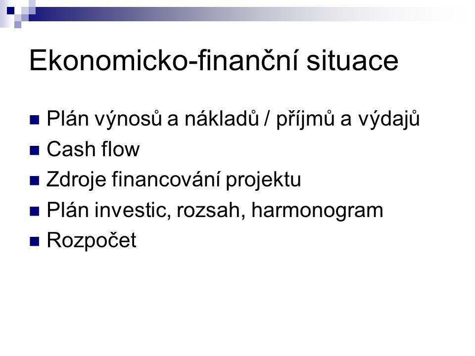 Ekonomicko-finanční situace Plán výnosů a nákladů / příjmů a výdajů Cash flow Zdroje financování projektu Plán investic, rozsah, harmonogram Rozpočet