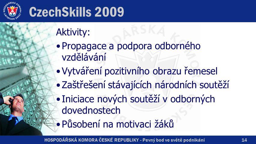 HOSPODÁŘSKÁ KOMORA ČESKÉ REPUBLIKY - Pevný bod ve světě podnikání CzechSkills 2009 Aktivity: Propagace a podpora odborného vzdělávání Vytváření poziti